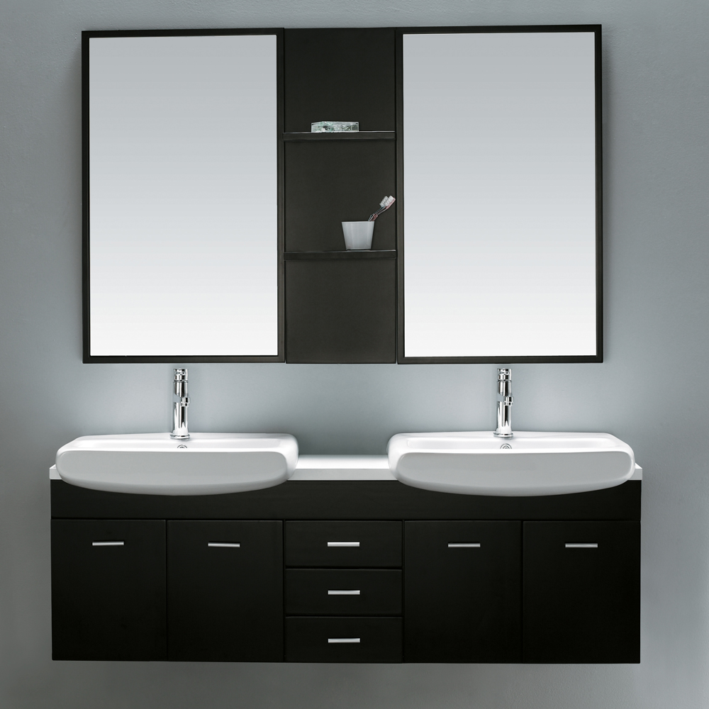"59"" Raynor Double Vanity shown with matching mirror"