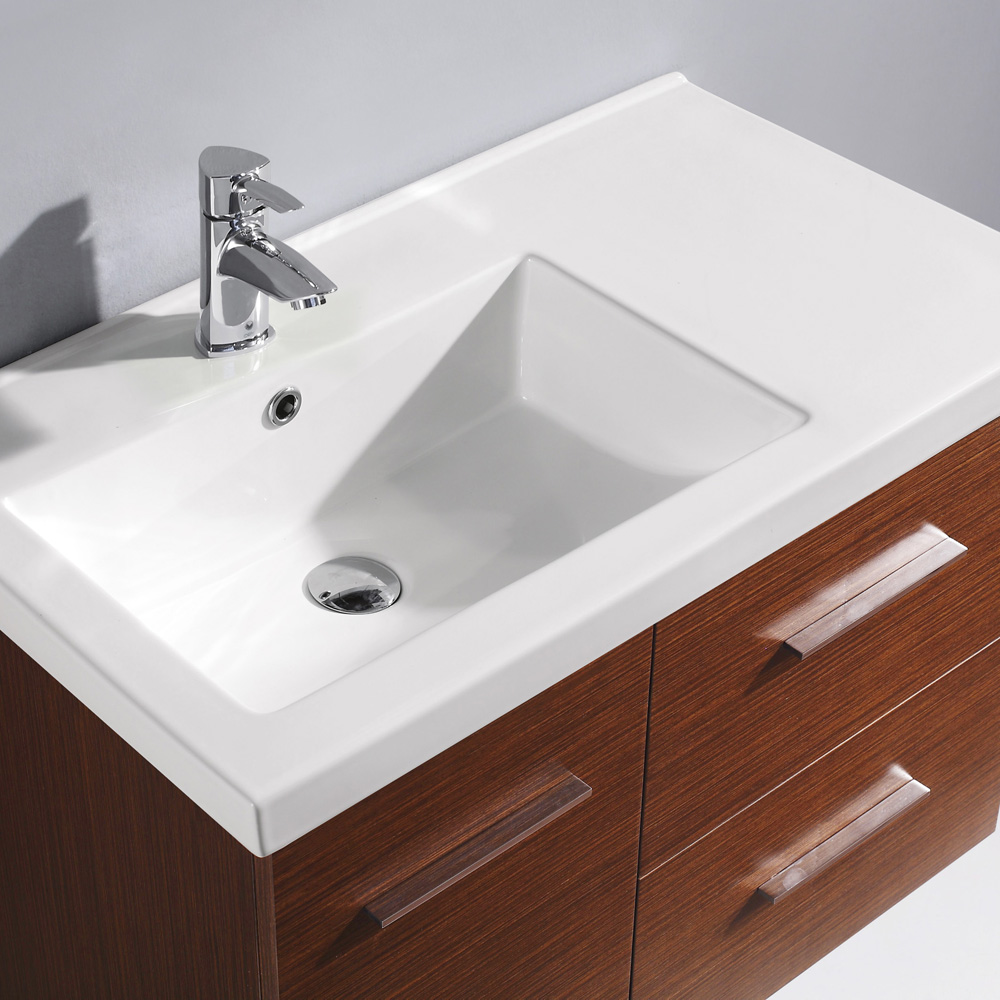 Integrated sink top of white ceramic