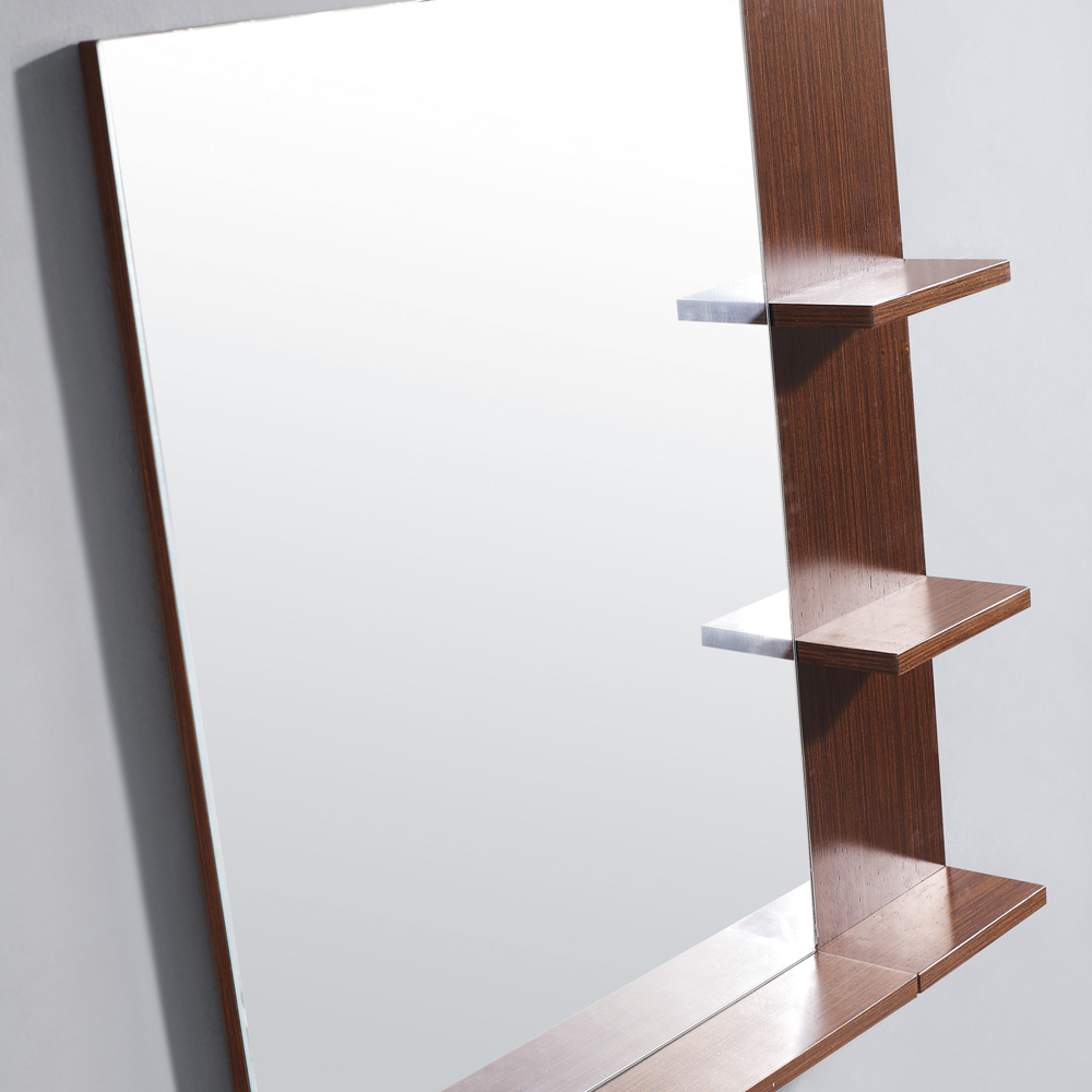 Matching mirror with wenge finished frame and shelving
