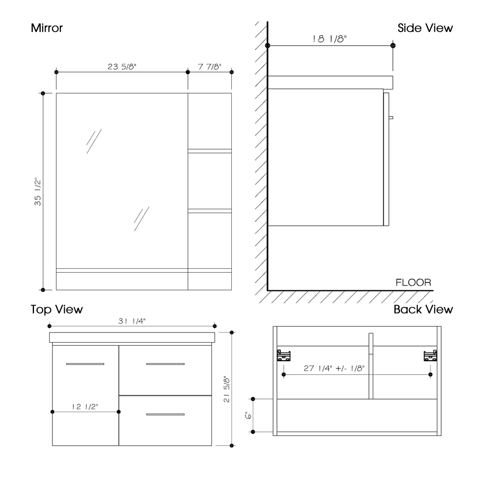 "Dimensions for 31"" Moderna Vanity and Mirror"