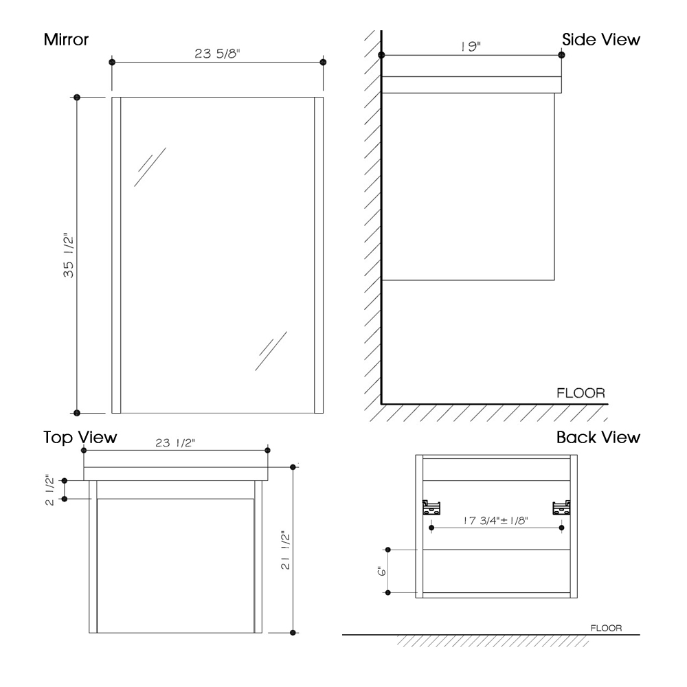 "Dimensions for 23.5"" Bianca Wall-Mount Single Vanity and Mirror"