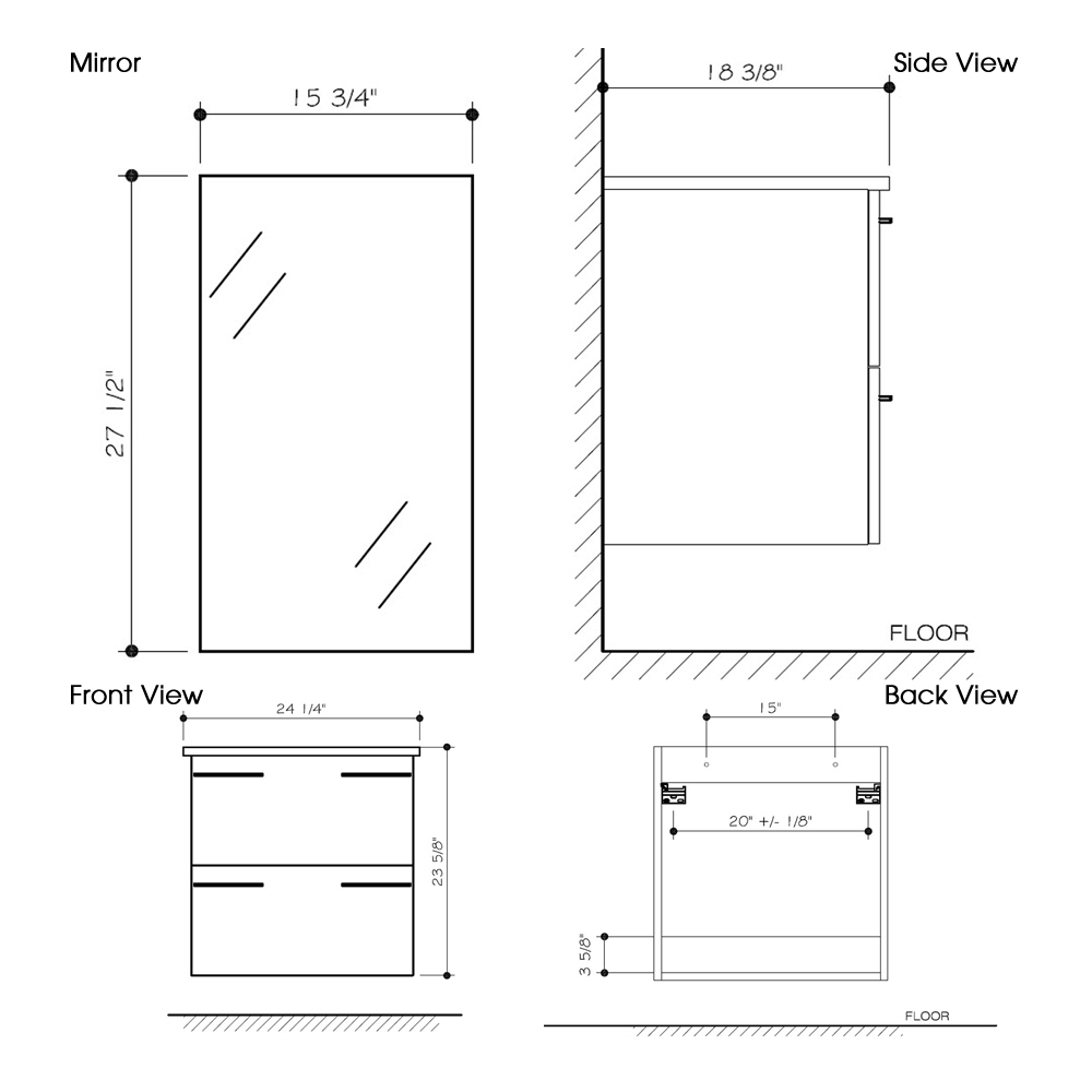 "Dimensions for 24"" Ophelia Wall-Mount Vanity and medicine cabinet"