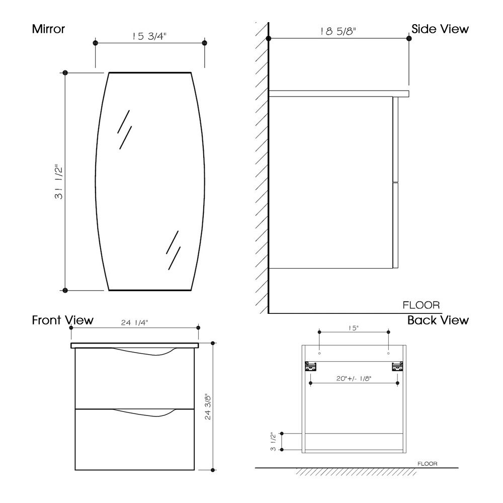 "Dimensions for 24"" Suzuetta Wall-Mount Vanity and Mirror"