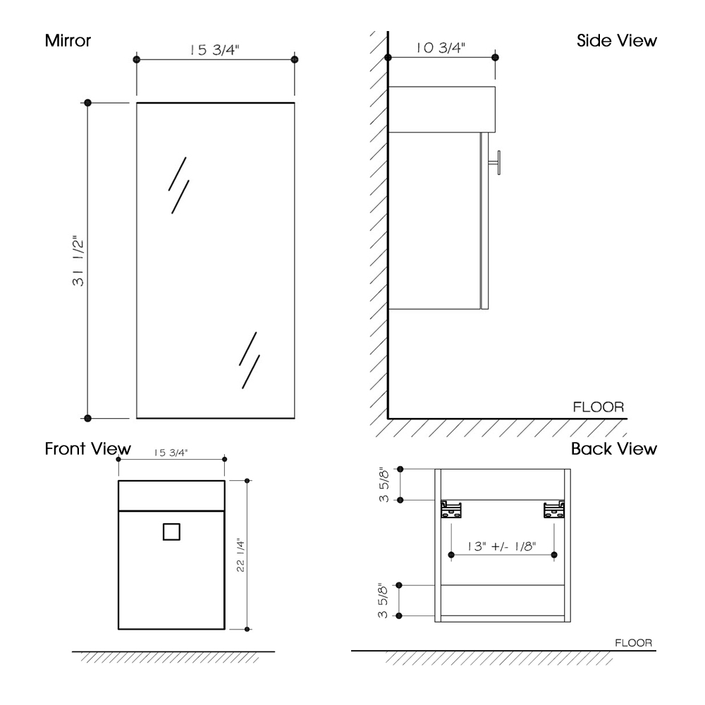 "Dimensions for 15.75"" Marina Wall-Mount Vanity and Mirror"