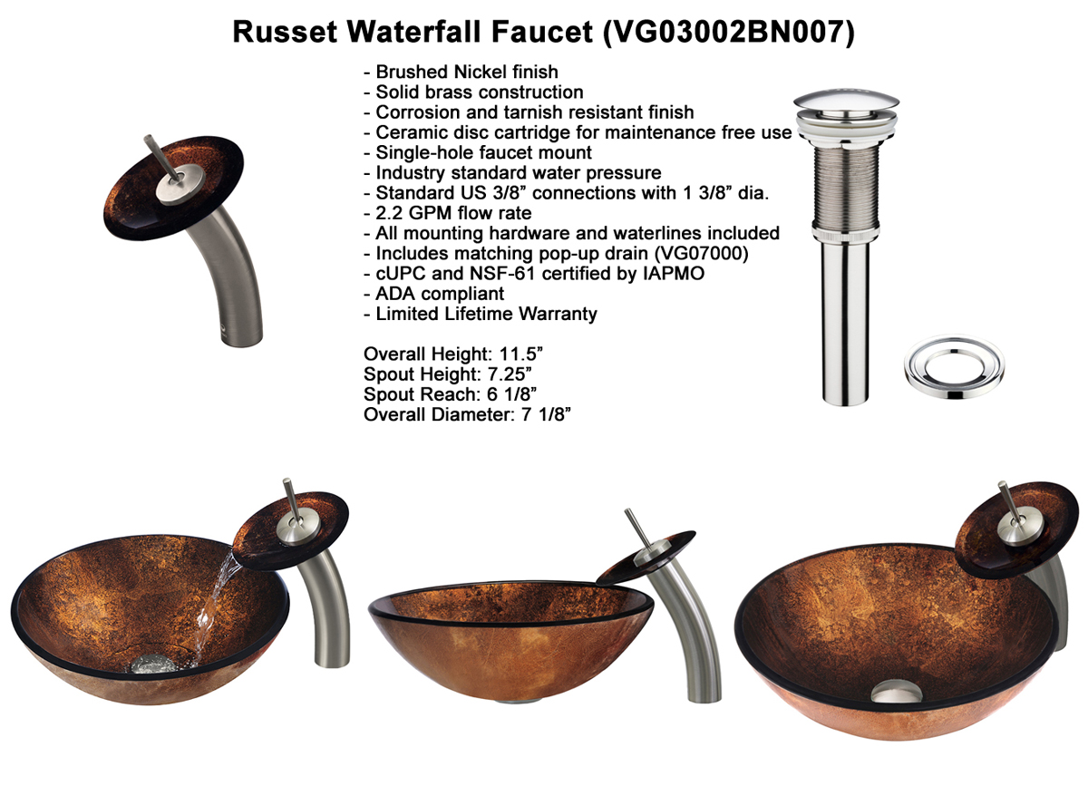 Faucet Set 1 - Waterfall Faucet in Brushed Nickel (VGT007BNRND)