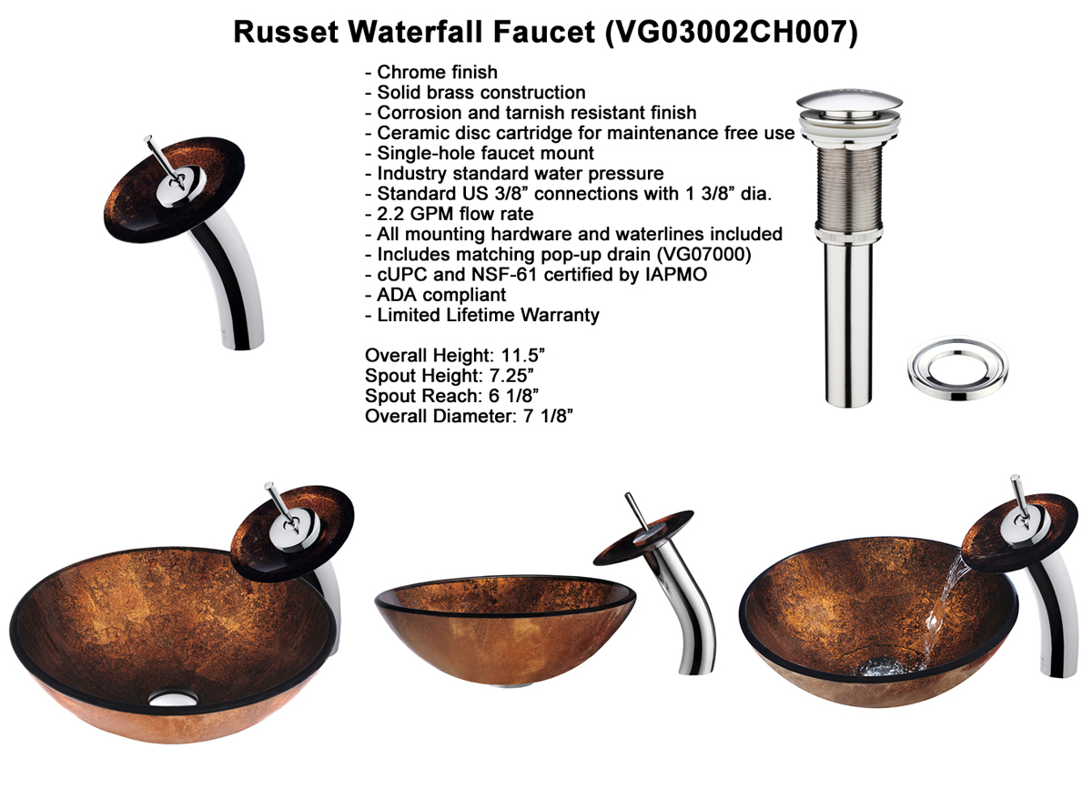 Faucet Set 2 - Waterfall Faucet in Chrome (VGT007CHRND)