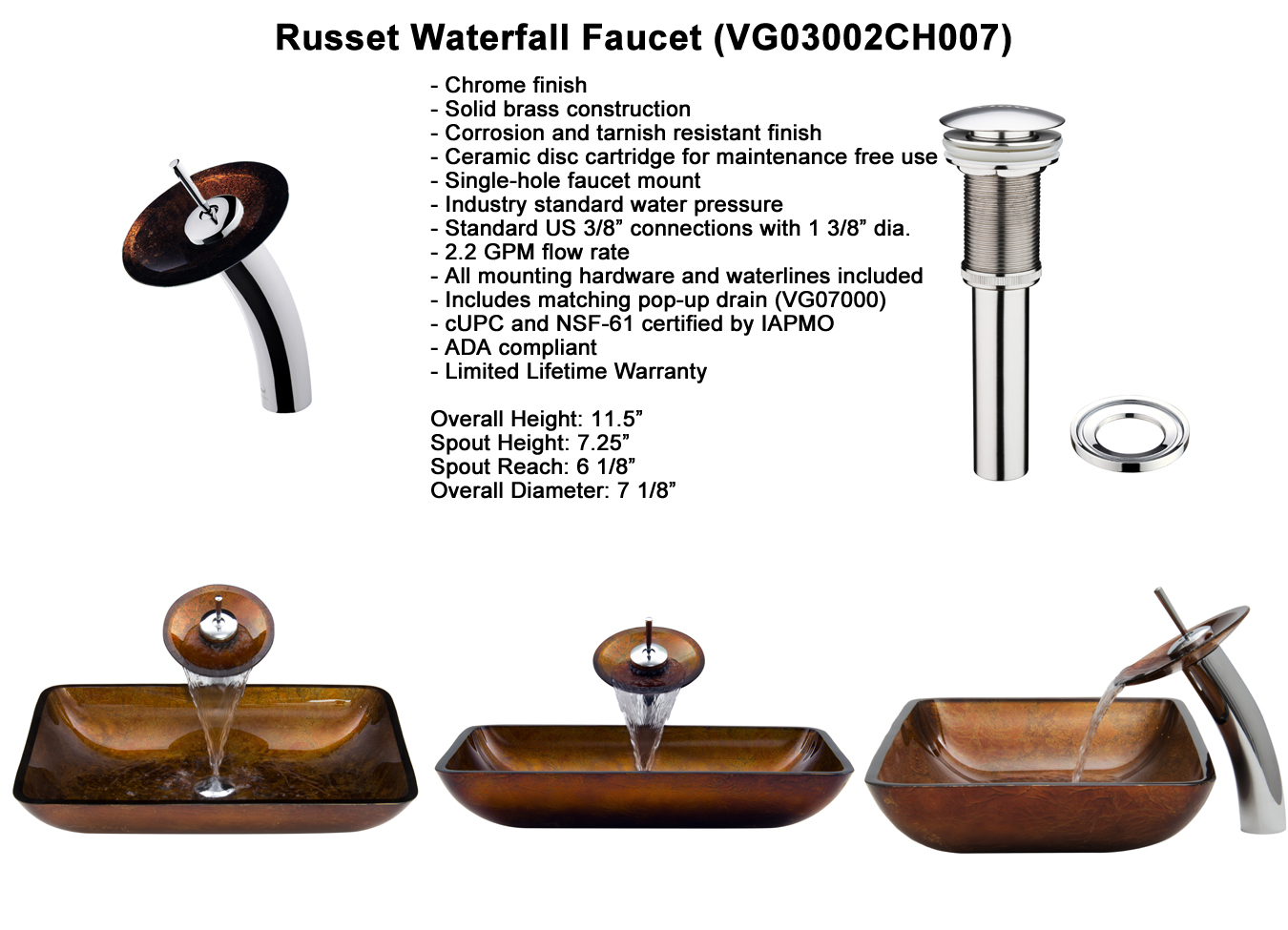 Rectangular Russet Vessel Sink - Dimensions