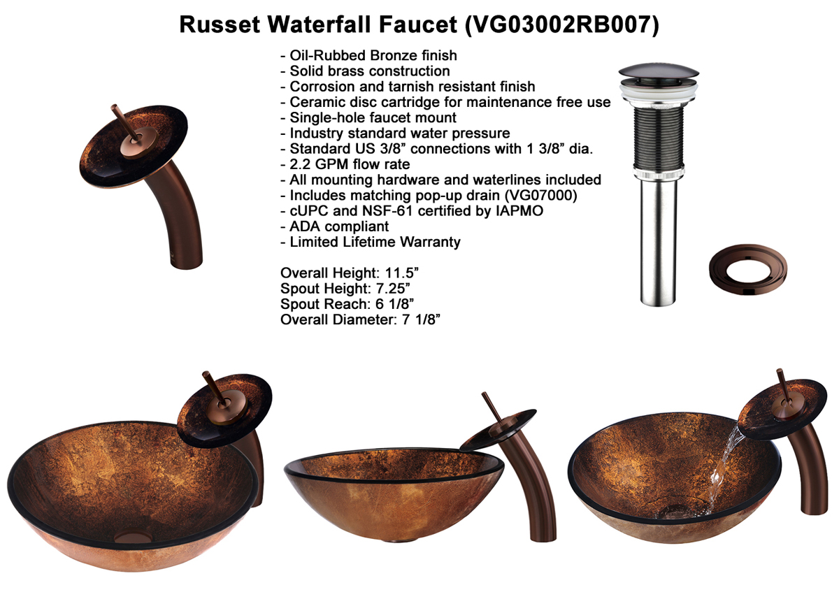 Faucet Set 3 - Waterfall Faucet in Oil-Rubbed Bronze (VGT007RBRND)
