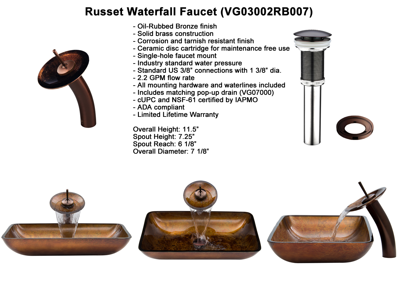 Faucet Set 1 - Waterfall Faucet in Chrome (VGT007CHRCT)