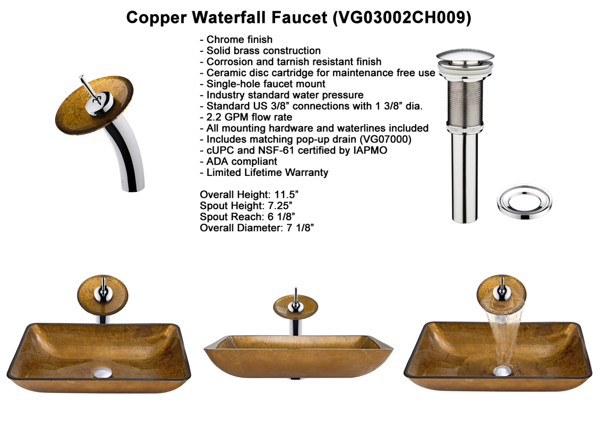 Faucet Set 1 - Waterfall Faucet in Brushed Nickel (VGT009BNRCT)
