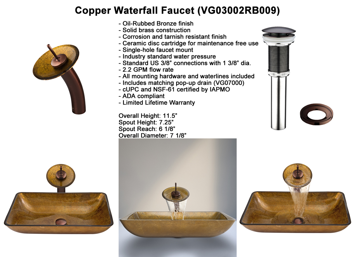 Faucet Set 2 - Waterfall Faucet in Chrome (VGT009CHRCT)