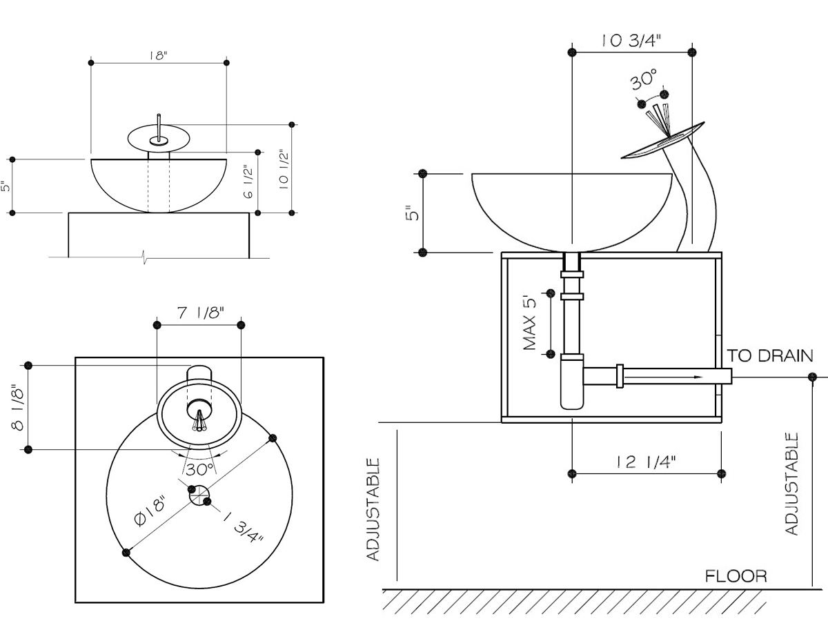 Dimensions for optional faucet set