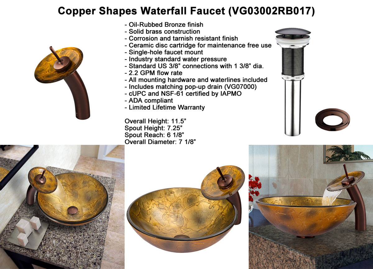 Faucet Option 3: Waterfall Faucet in Oil-Rubbed Bronze (VGT017RBRND)