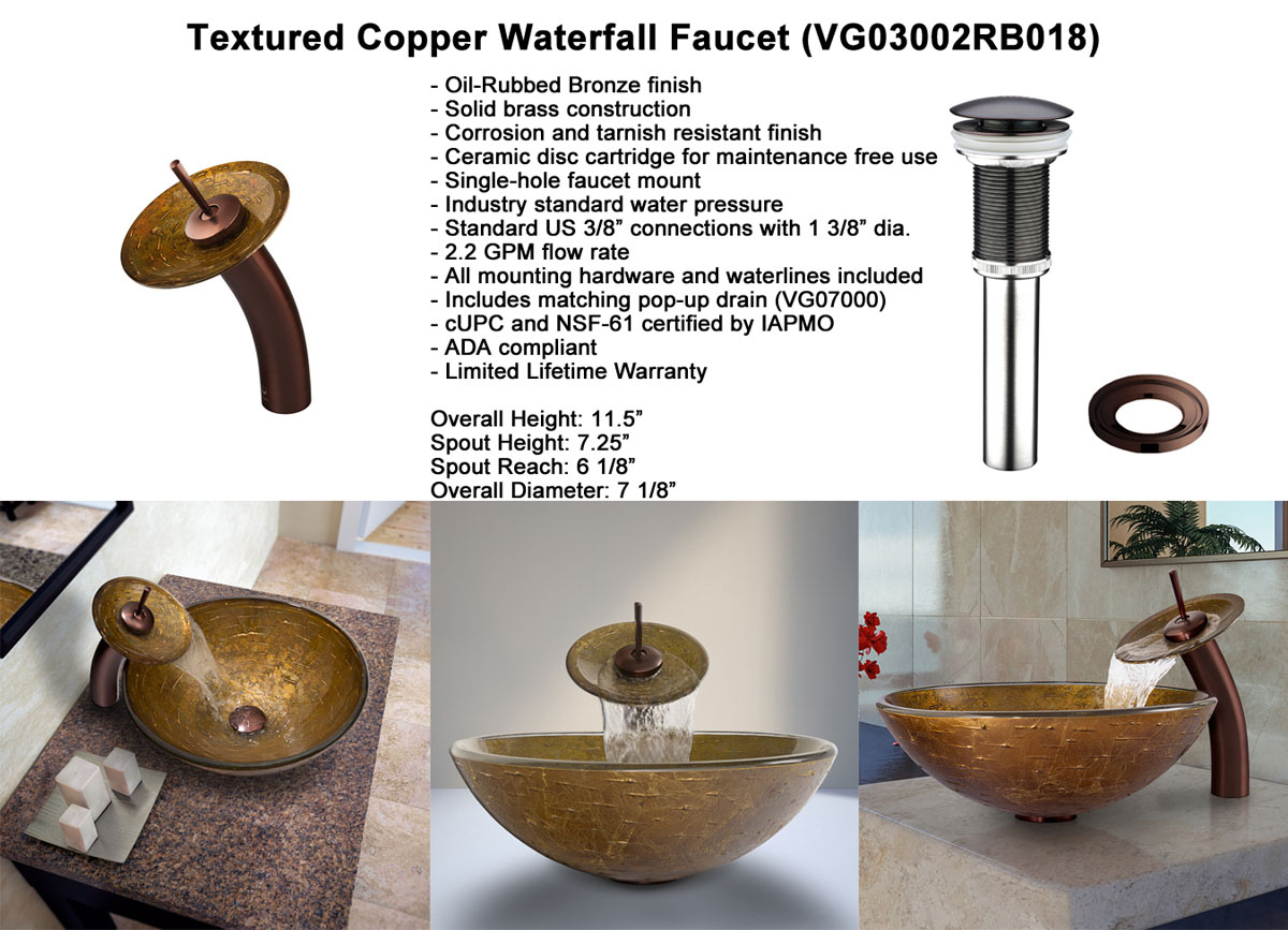 Faucet Option 3: Waterfall Faucet in Oil-Rubbed Bronze (VGT018RBRND)