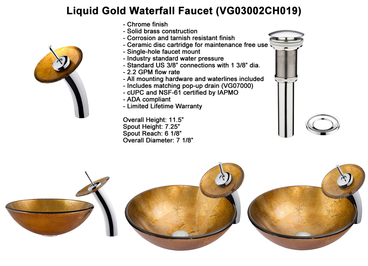 Faucet Option 2: Waterfall Faucet in Chrome (VGT019CHRND)