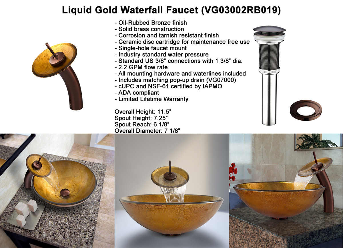 Faucet Option 3: Waterfall Faucet in Oil-Rubbed Bronze (VGT019RBRND)