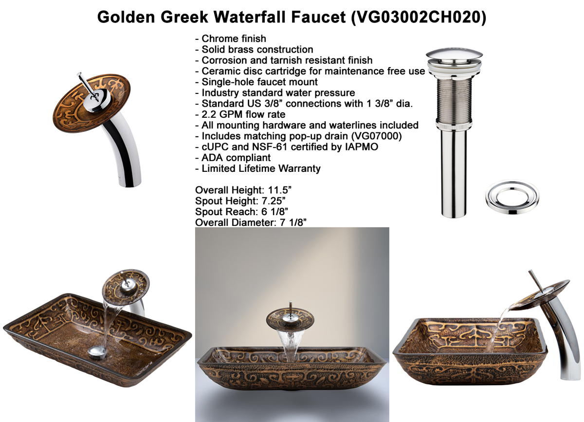 Faucet Set 1 - Waterfall Faucet in Chrome (VGT020CHRCT)