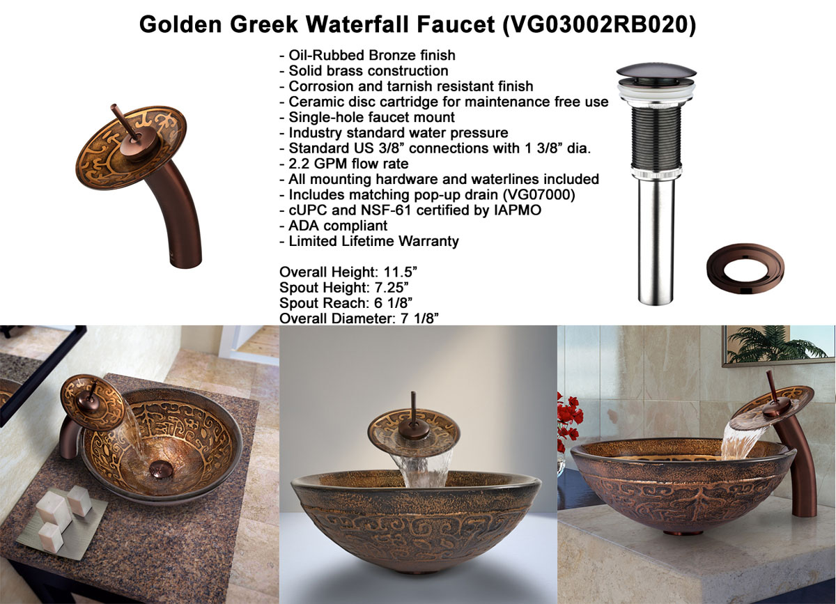 Faucet Option 3: Waterfall Faucet in Oil-Rubbed Bronze (VGT020RBRND)