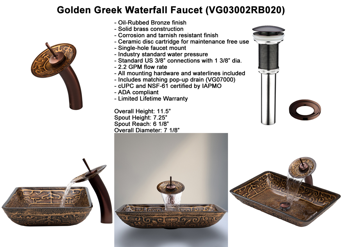 Faucet Set 2 - Waterfall Faucet in Oil-Rubbed Bronze (VGT020RBRCT)