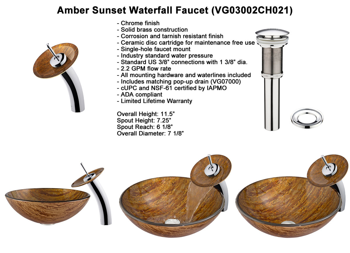 Faucet Option 2: Waterfall Faucet in Chrome (VGT021CHRND)