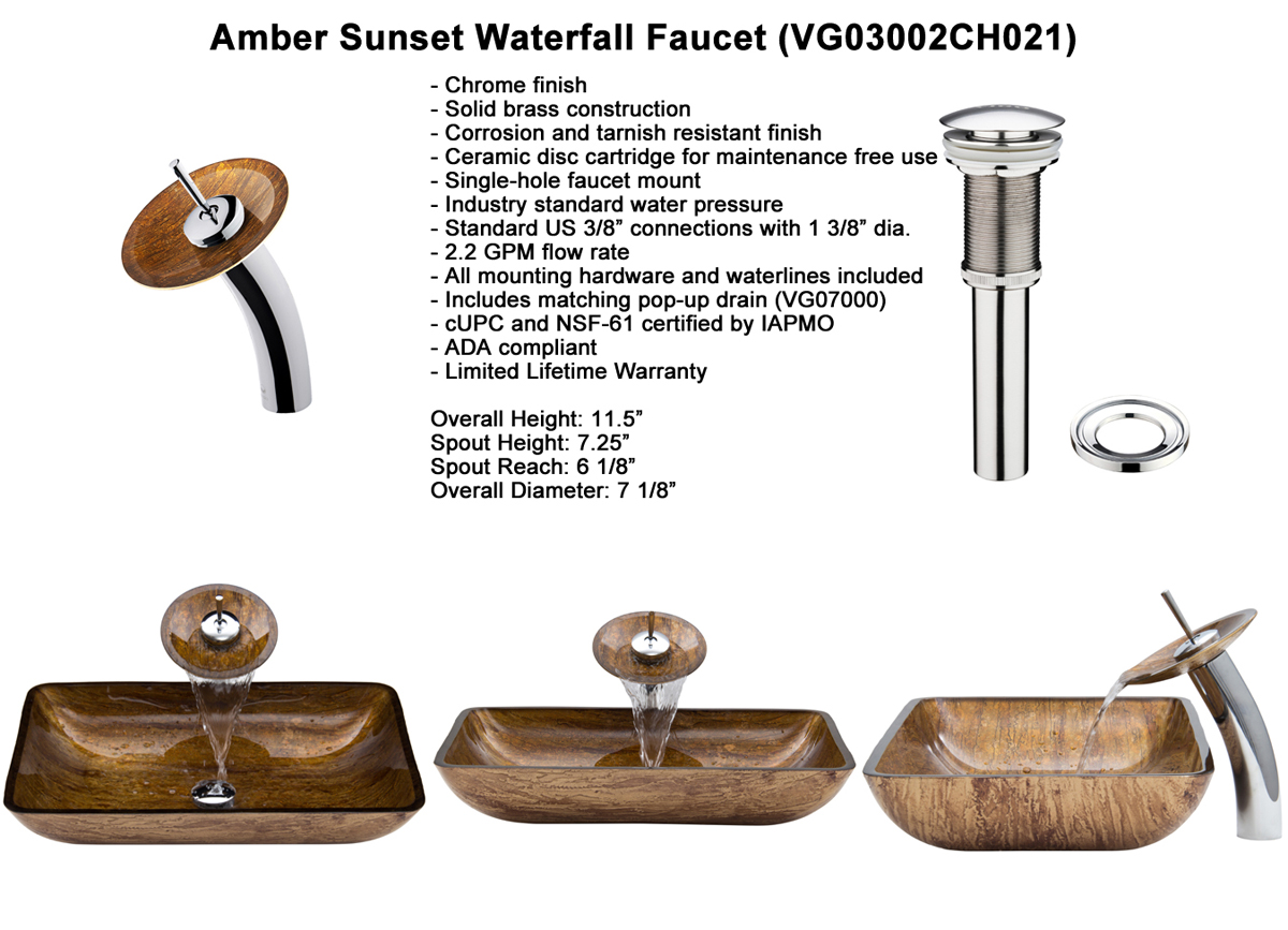 Faucet Set 1 - Waterfall Faucet in Chrome (VGT021CHRCT)