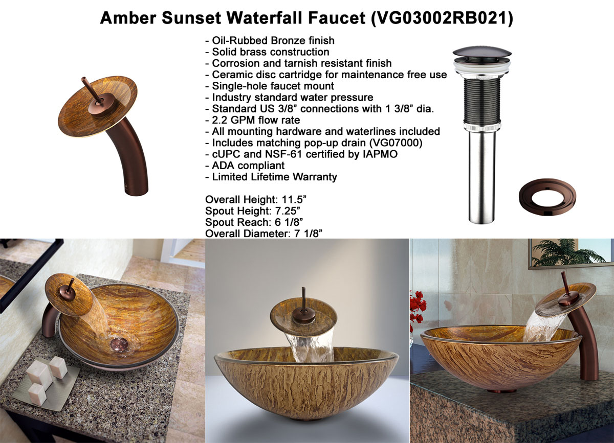 Faucet Option 3: Waterfall Faucet in Oil-Rubbed Bronze (VGT021RBRND)