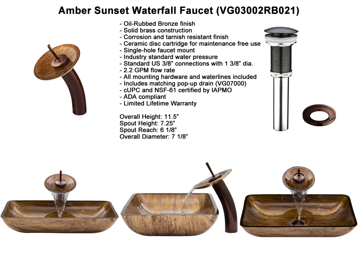 Faucet Set 2 - Waterfall Faucet in Oil-Rubbed Chrome (VGT021RBRCT)