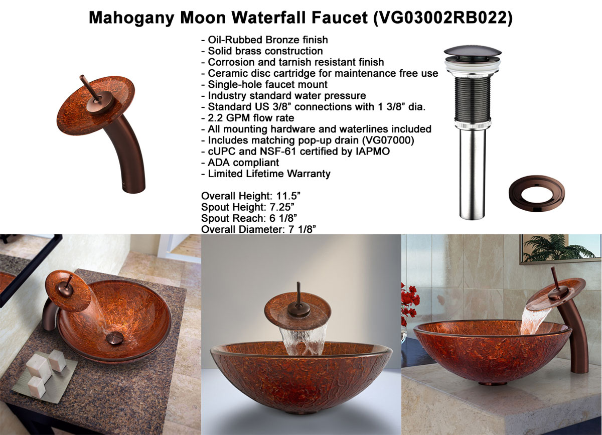 Faucet Option 3: Waterfall Faucet in Oil-Rubbed Bronze (VGT022RBRND)