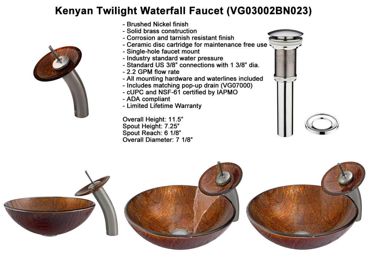 Faucet Option 1: Waterfall Faucet in Brushed Nickel (VGT023BNRND)