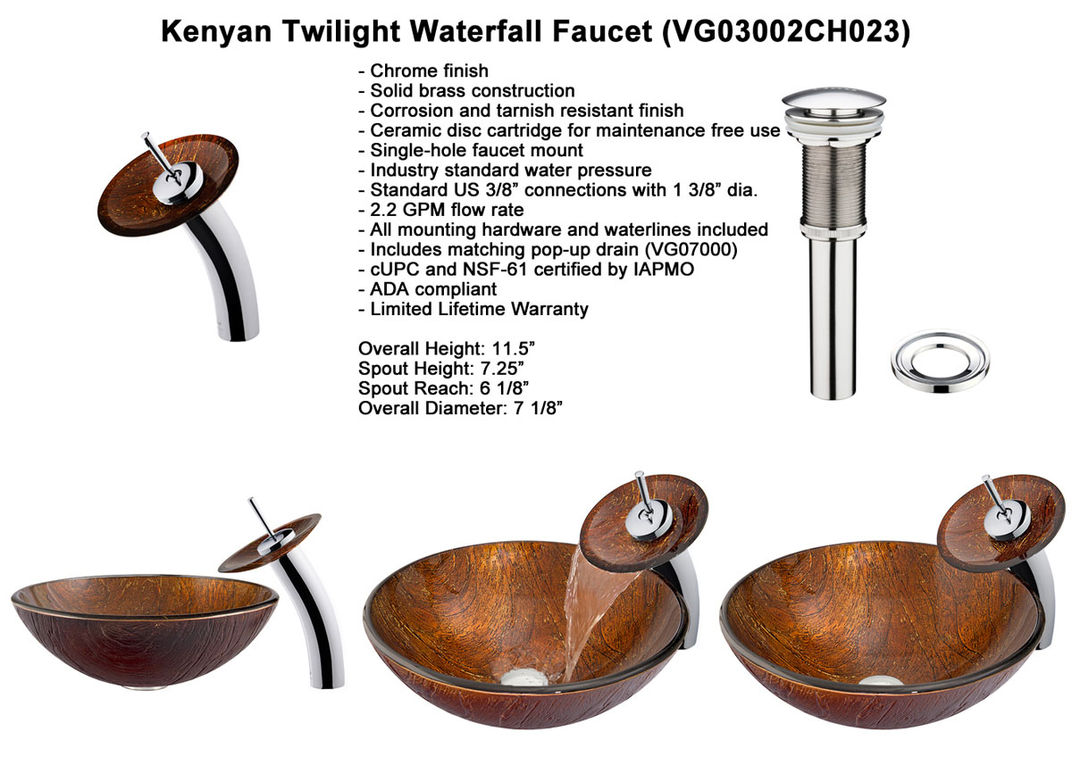 Faucet Option 2: Waterfall Faucet in Chrome (VGT023CHRND)
