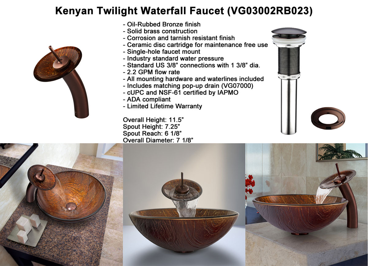 Faucet Option 3: Waterfall Faucet in Oil-Rubbed Bronze (VGT023RBRND)