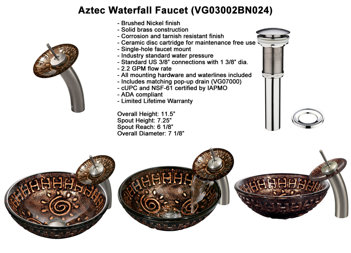 Faucet Option 1: Waterfall Faucet in Brushed Nickel (VGT024BNRND)