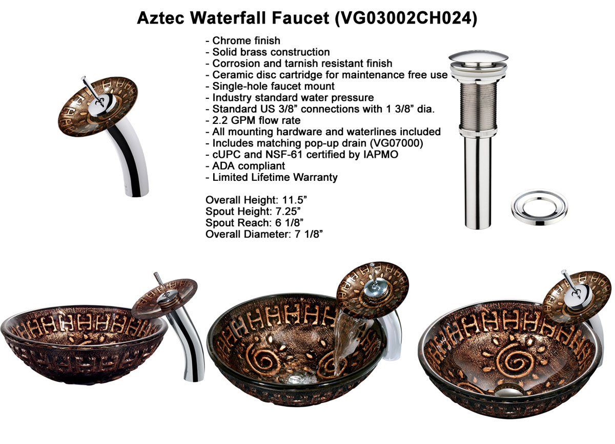 Faucet Option 2: Waterfall Faucet in Chrome (VGT024CHRND)