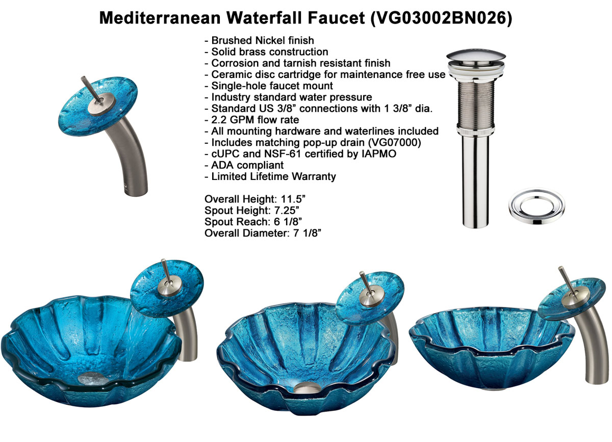 Faucet Option 1: Waterfall Faucet in Brushed Nickel (VGT026BNRND)