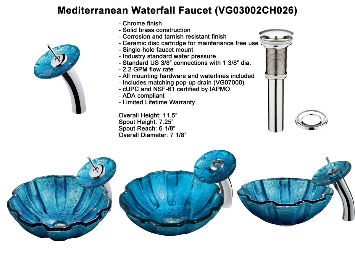 Faucet Option 2: Waterfall Faucet in Chrome (VGT026CHRND)