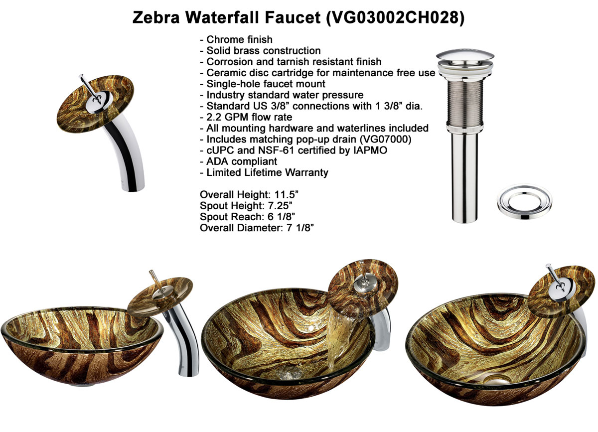 Faucet Option 2: Waterfall Faucet in Chrome (VGT028CHRND)