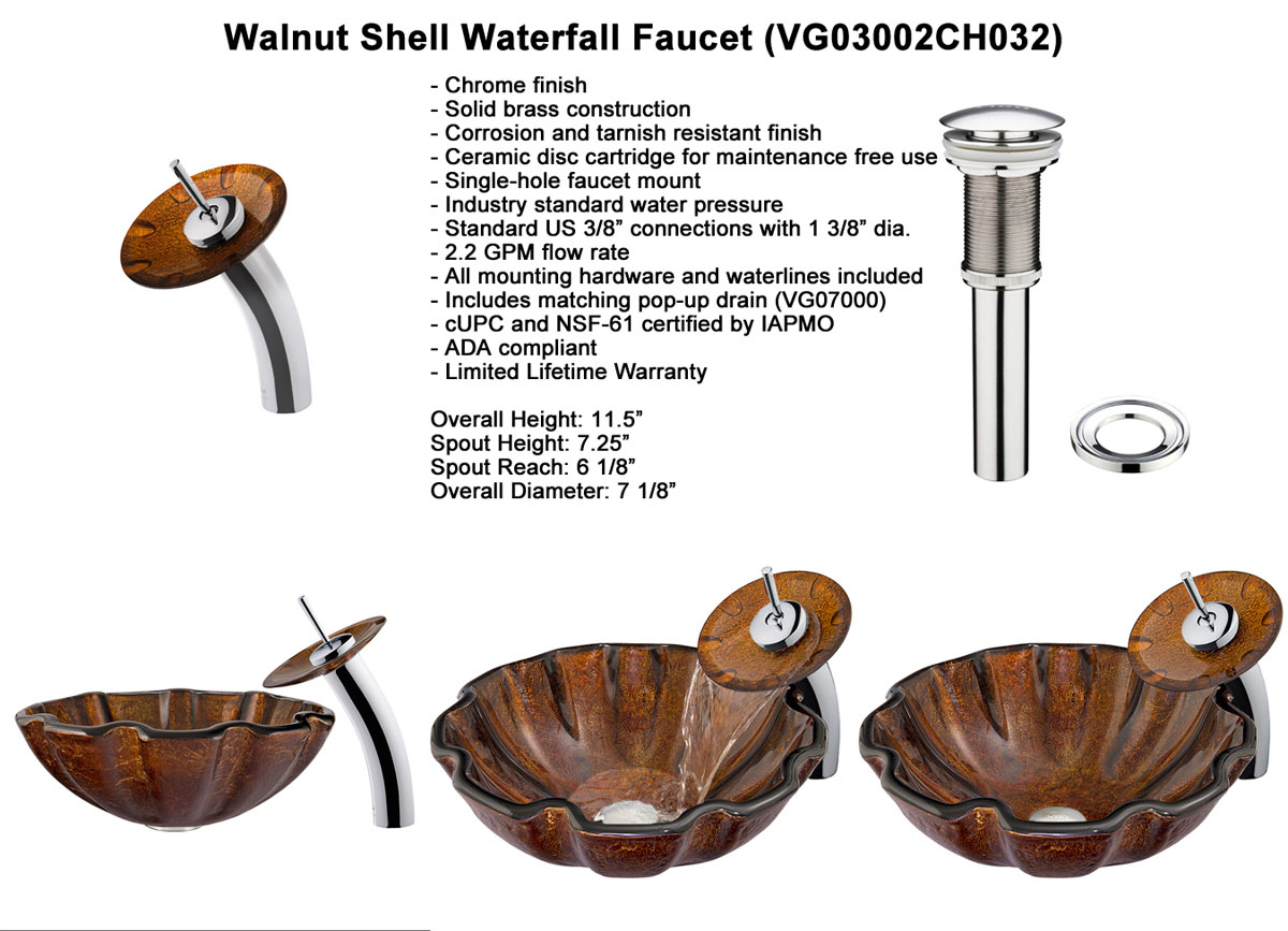 Faucet Set 2: Waterfall Faucet in Chrome (VGT032CHRND)