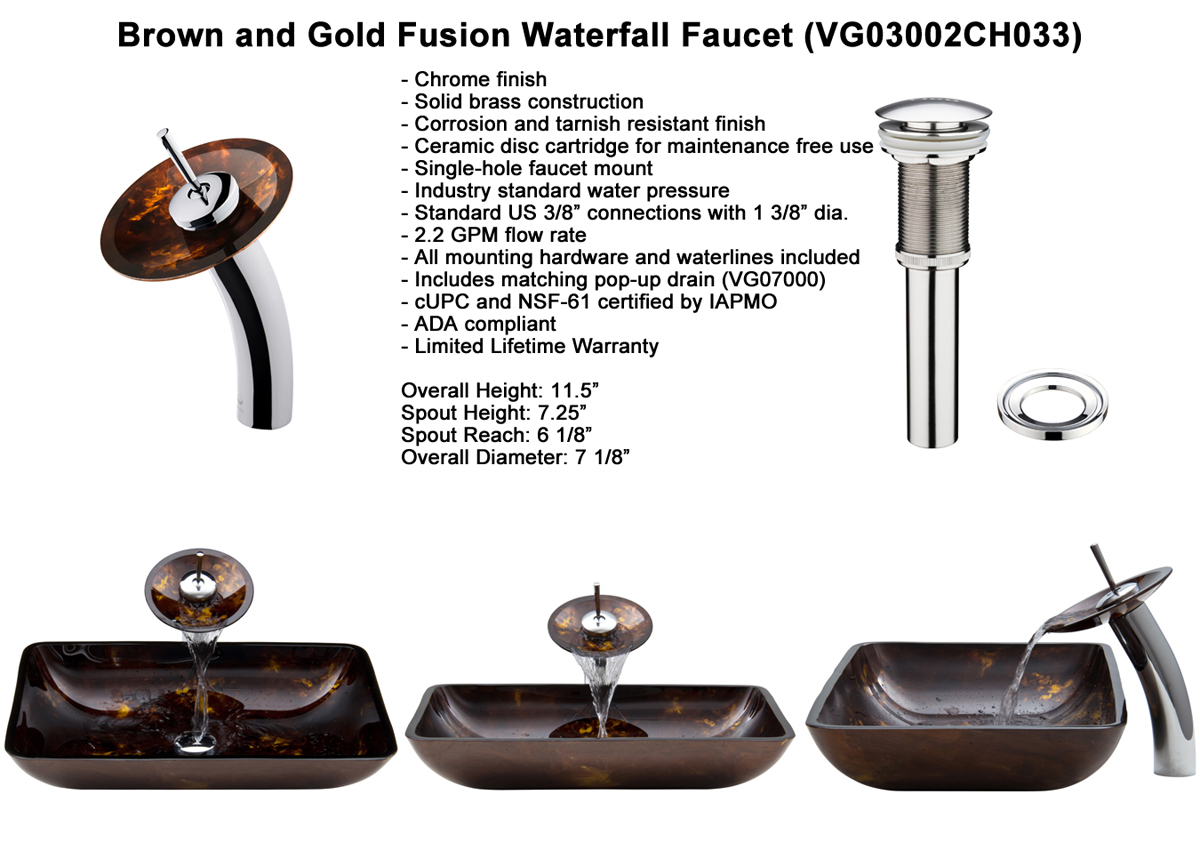 Rectangular Brown And Gold Fusion Vessel Sink - Dimensions