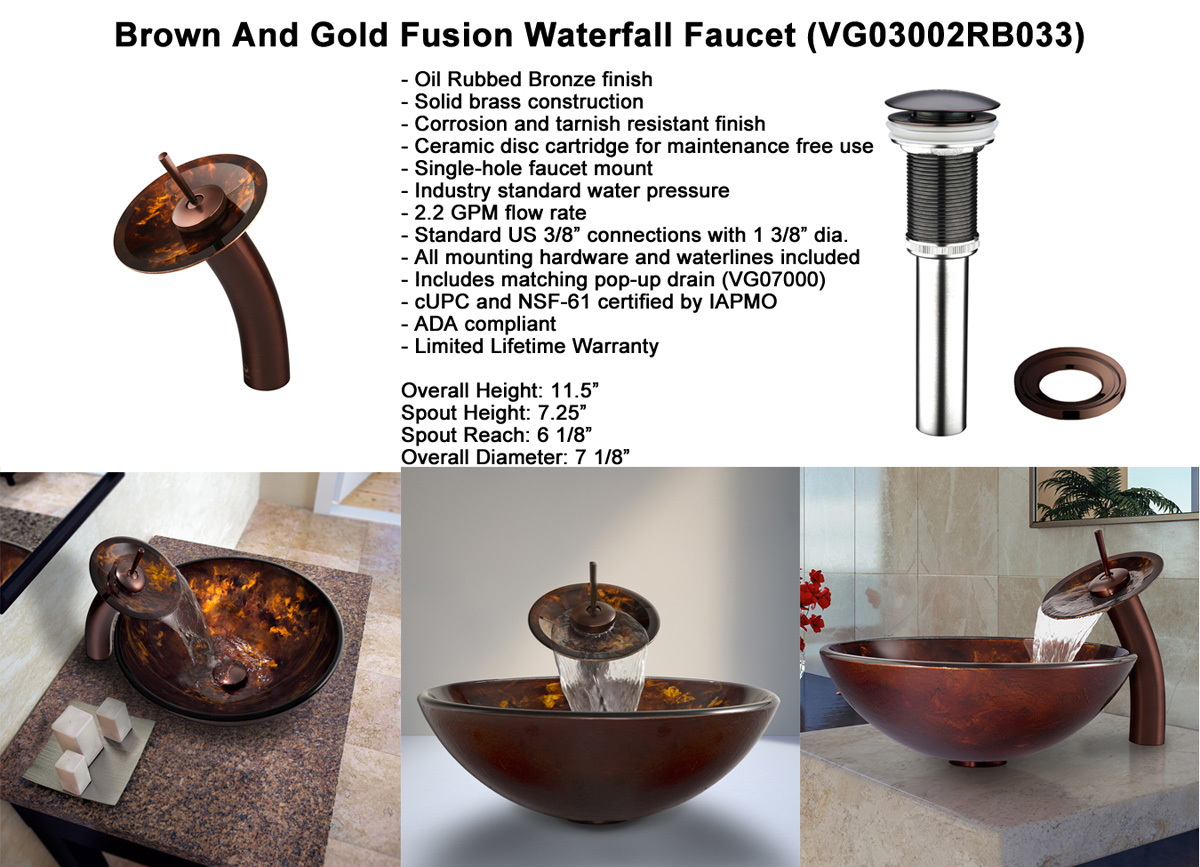 Faucet Option 2: Waterfall Faucet in Oil-Rubbed Bronze (VGT033RBRND)