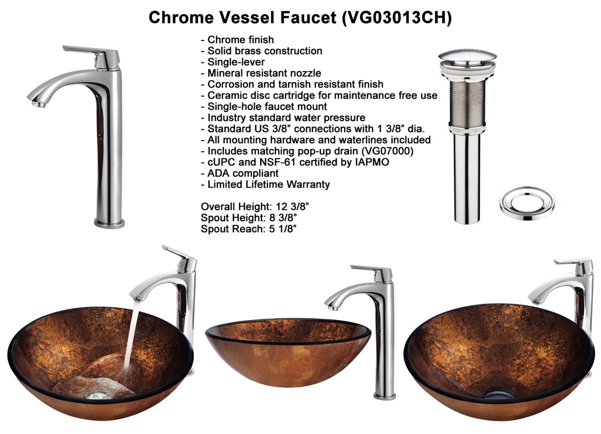 Faucet Set 4 - Vessel Faucet in Chrome (VGT110)