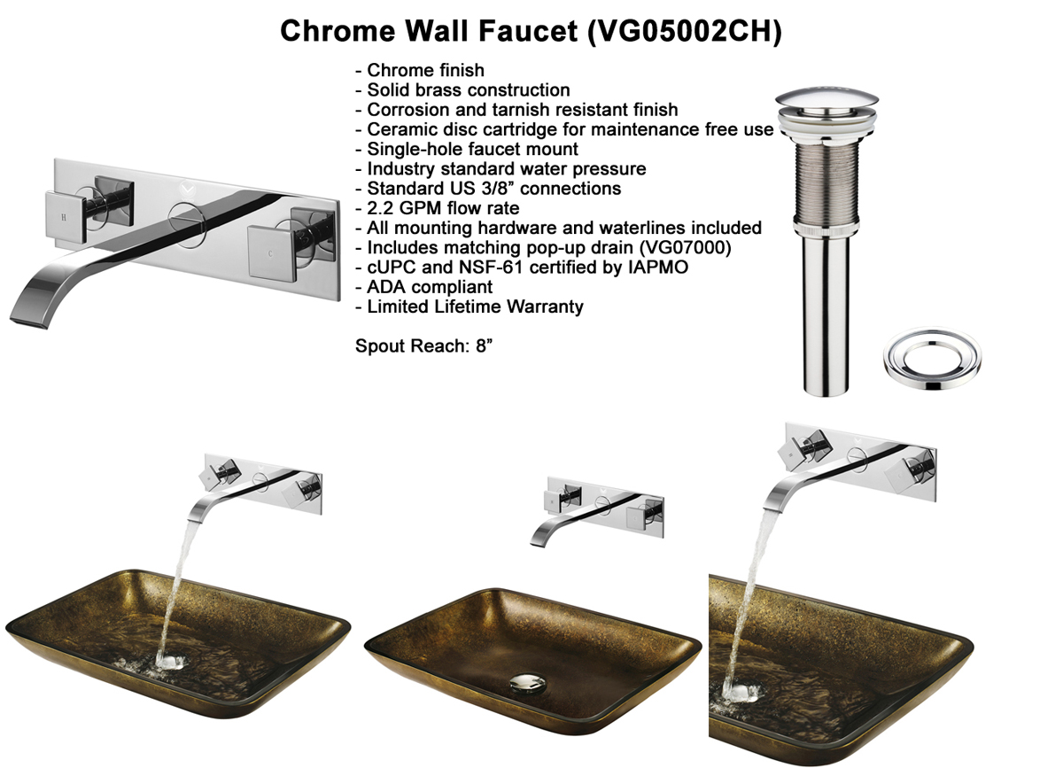 Faucet Set 5 - Wall Faucet in Chrome (VGT112)