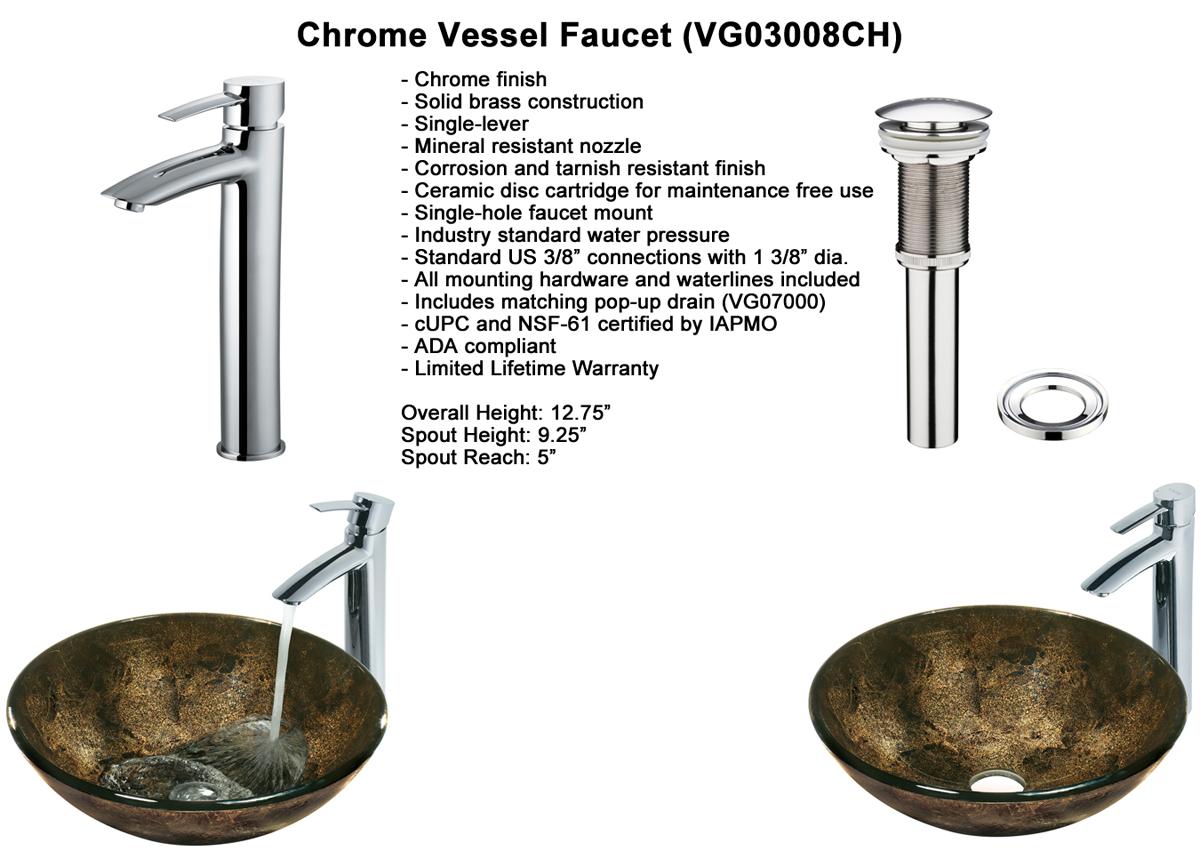 Faucet Set 1 - Vessel Faucet in Chrome (VGT122)