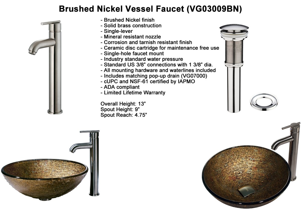 Faucet Option 6: Brushed Nickel Vessel Faucet (VGT154)