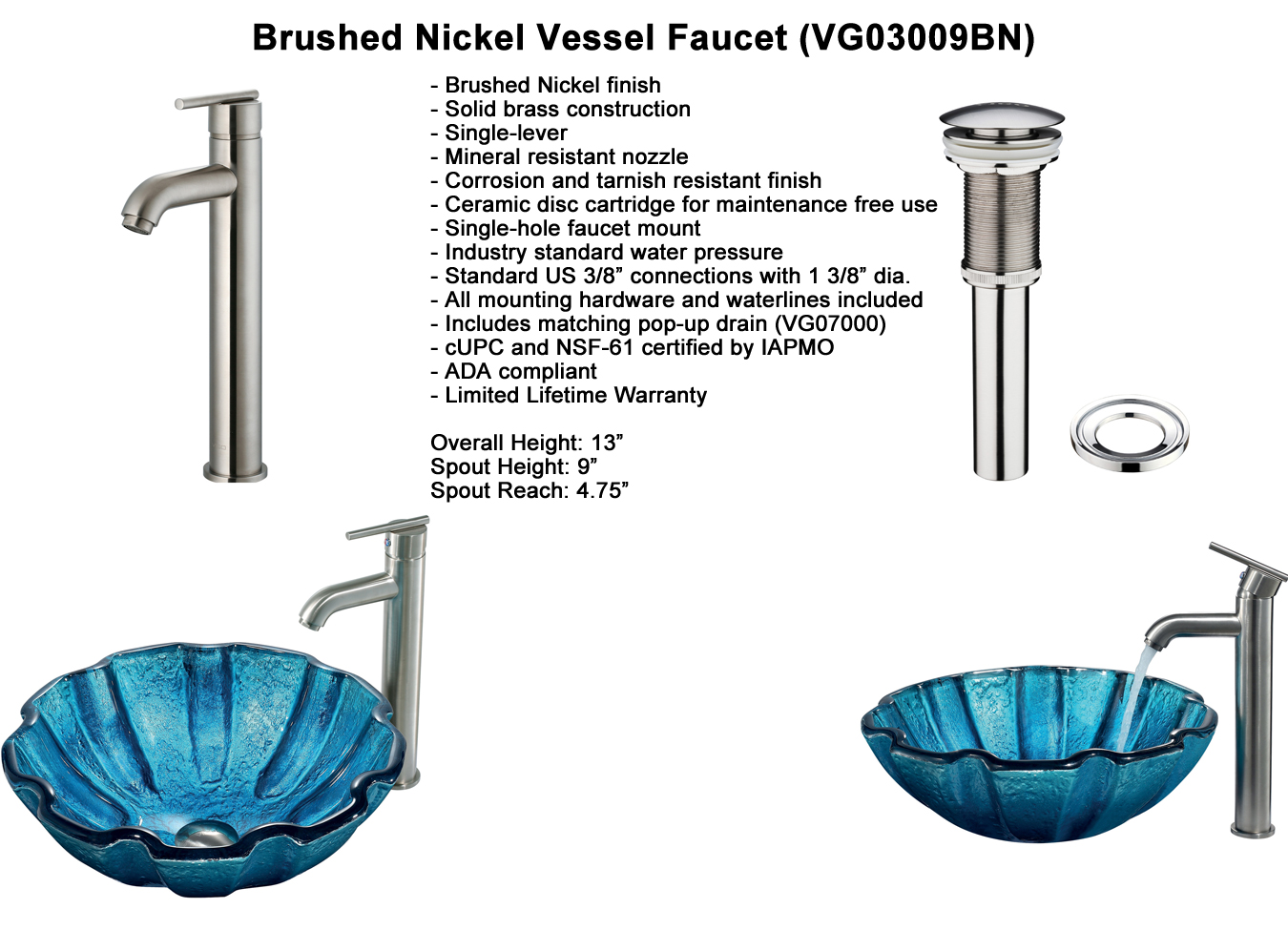 Faucet Option 3: Brushed Nickel Vessel Faucet (VGT160)