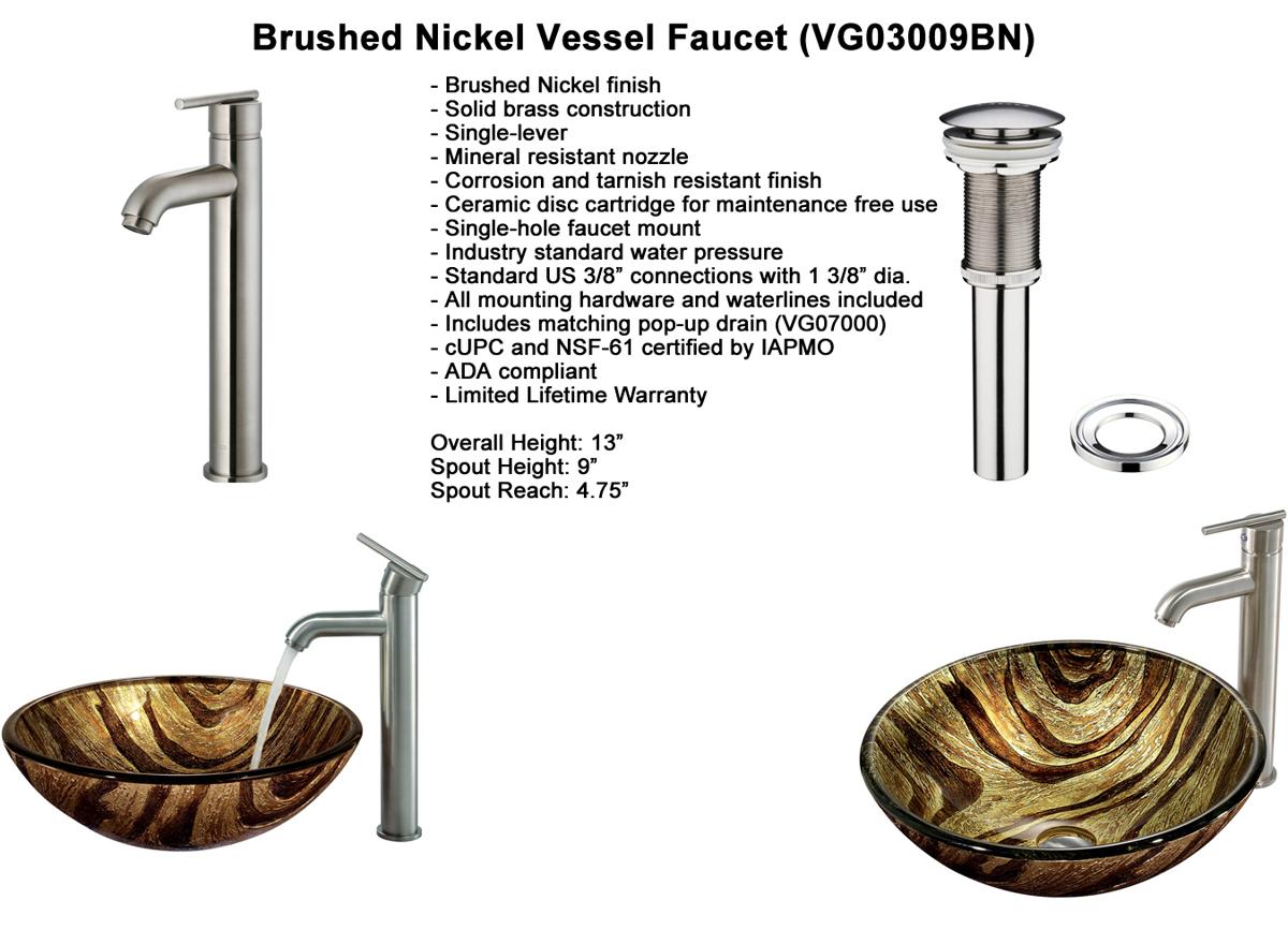 Faucet Option 3: Brushed Nickel Vessel Faucet (VGT161)