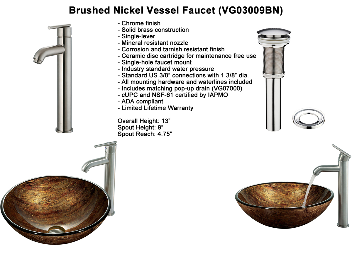 Faucet Option 4: Brushed Nickel Vessel Faucet (VGT163)