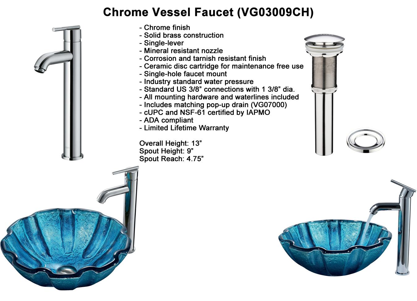 Faucet Option 4: Chrome Vessel Faucet (VGT164)