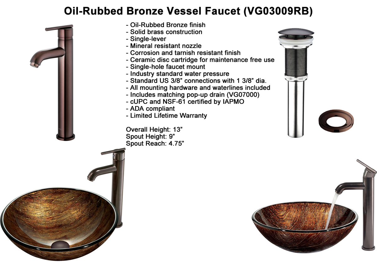 Faucet Option 5: Oil-Rubbed Bronze Vessel Faucet (VGT172)