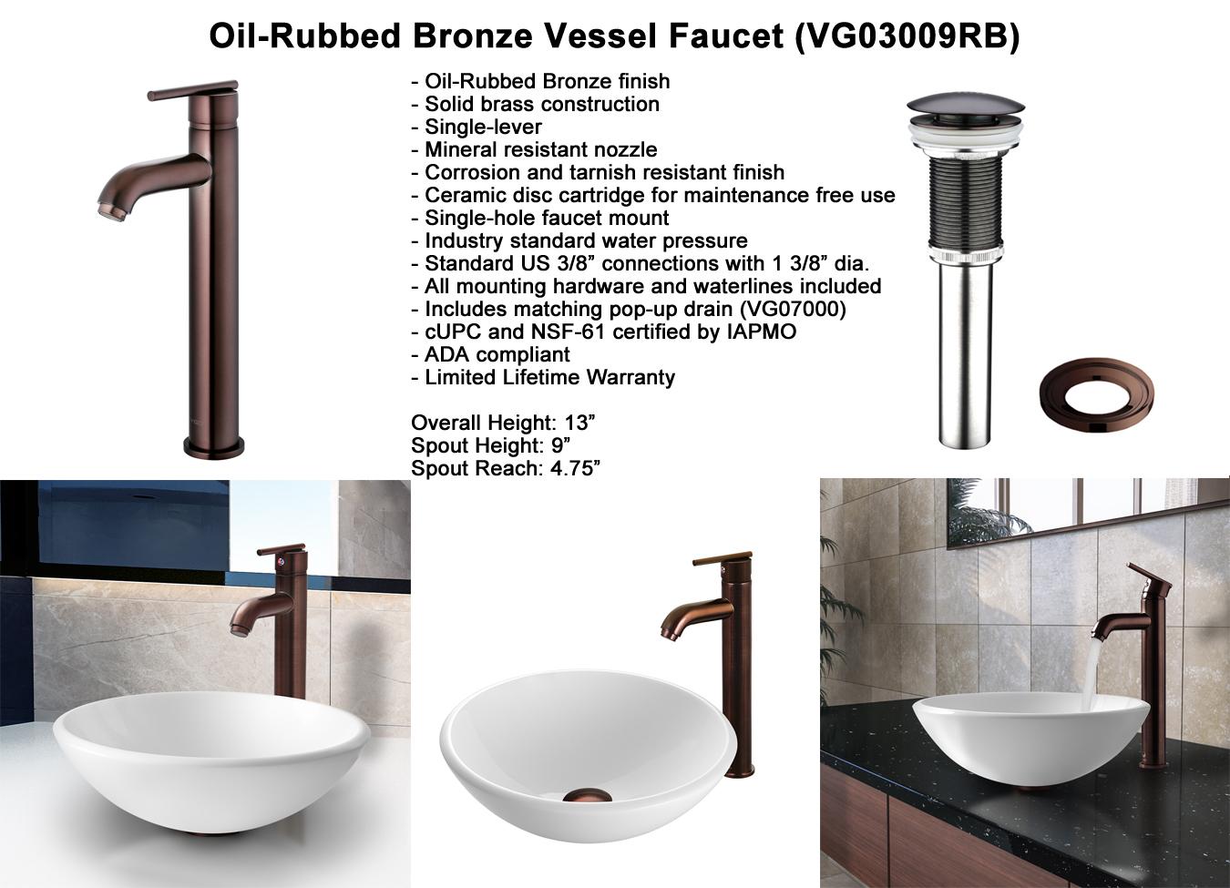 Faucet Set 3 - Otis Vessel Faucet in Oil-Rubbed Bronze (VGT202)