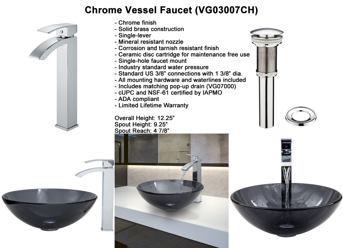 Faucet Set 3 - Chrome Vessel Faucet (VGT252)